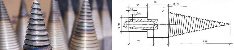 Заточка насадки для дровокола в виде конуса