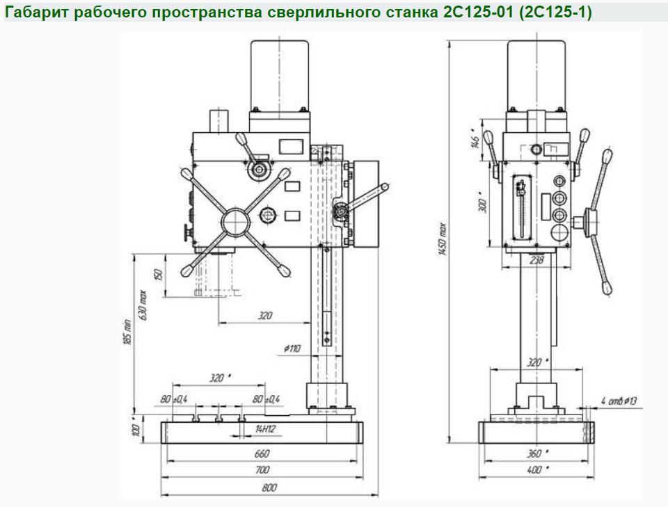 Размеры станка 2С125-01 (2С125-1)