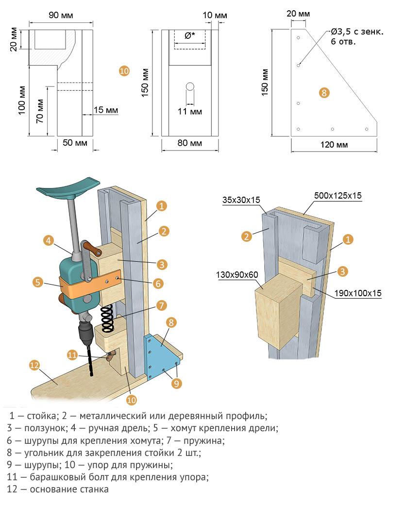 Схема самодельной стойки под дрель или шуруповерт