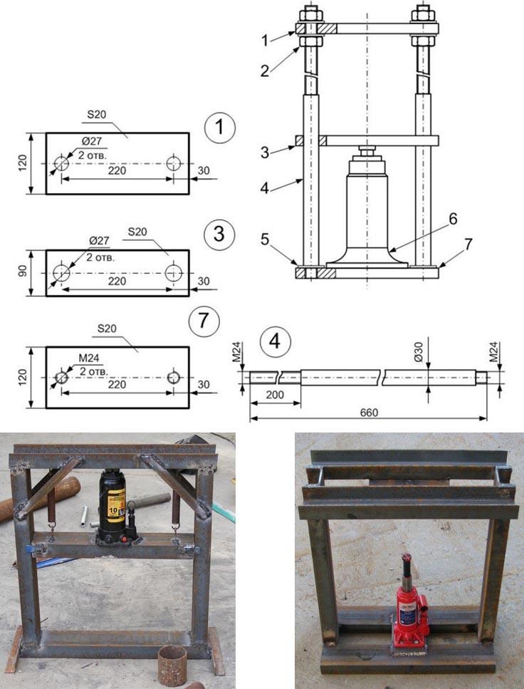 Схема устройства пресса и фото сборки