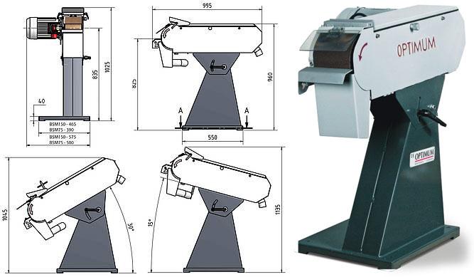 ленточно шлифовальная установка Optimum BSM 75