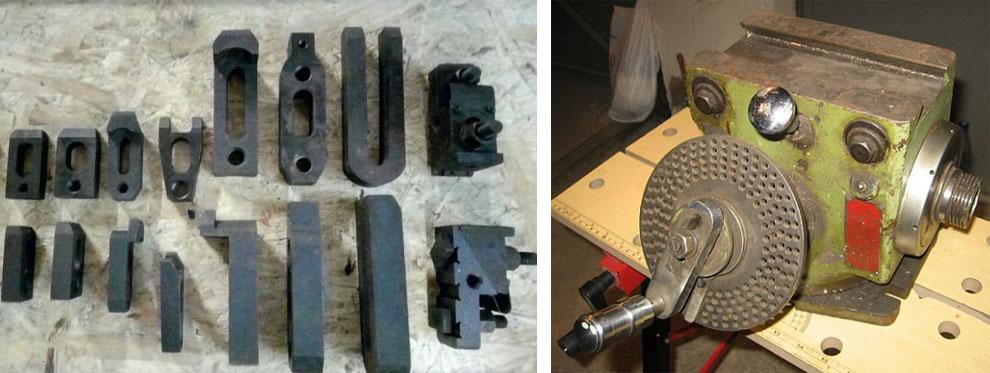 Набор прихватов и делительная и расточная головка для фрезерного станка